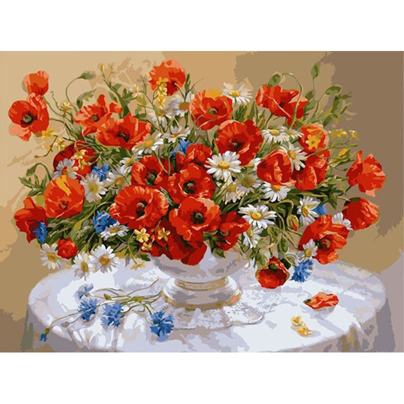 Chrysanthemum.40x50cm, pintura por números, bricolaje, arte de pared, decoración de sala de estar, paisaje, figura, animal, flor, cartón