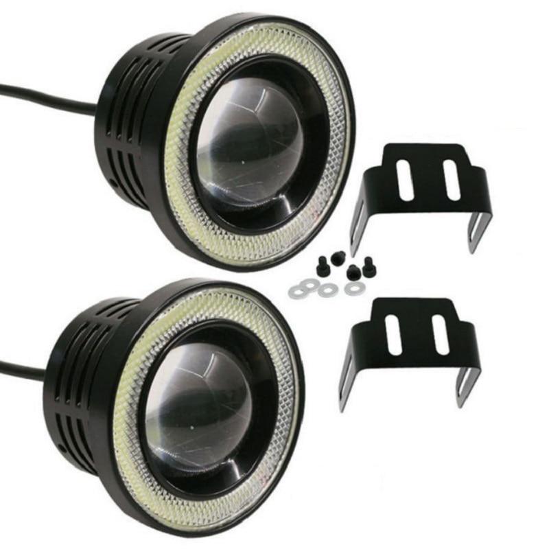 2 piezas de Ojos de Ángel lámpara de niebla 64mm 76mm, 89mm Universal 12 V LED COB LED DRL conducción de la niebla luces blanco azul rosa amarillo verde rojo hielo azul