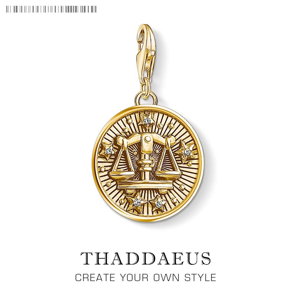 Signo del zodiaco, colgantes de Libra, pulsera de ajuste del encanto, moda de verano 2019, colgante de plata sólida dorada, joyería Bijoux para mujeres y hombres