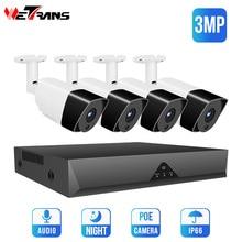 Wetrans CCTV System POE 1080 P NVR Audio Kamera 3MP Überwachung Kit Security Camera System Außen Onvif H.265 2MP IP cam Set