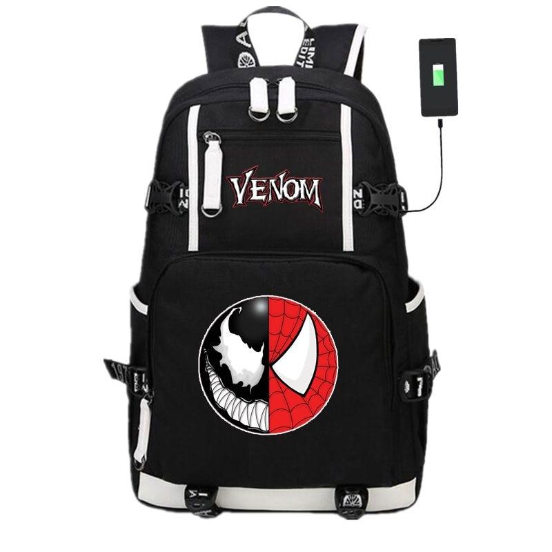 New Spider-man Venom School Backpack Knapsack USB Charge Interface Laptop Travel Shoulder Bags