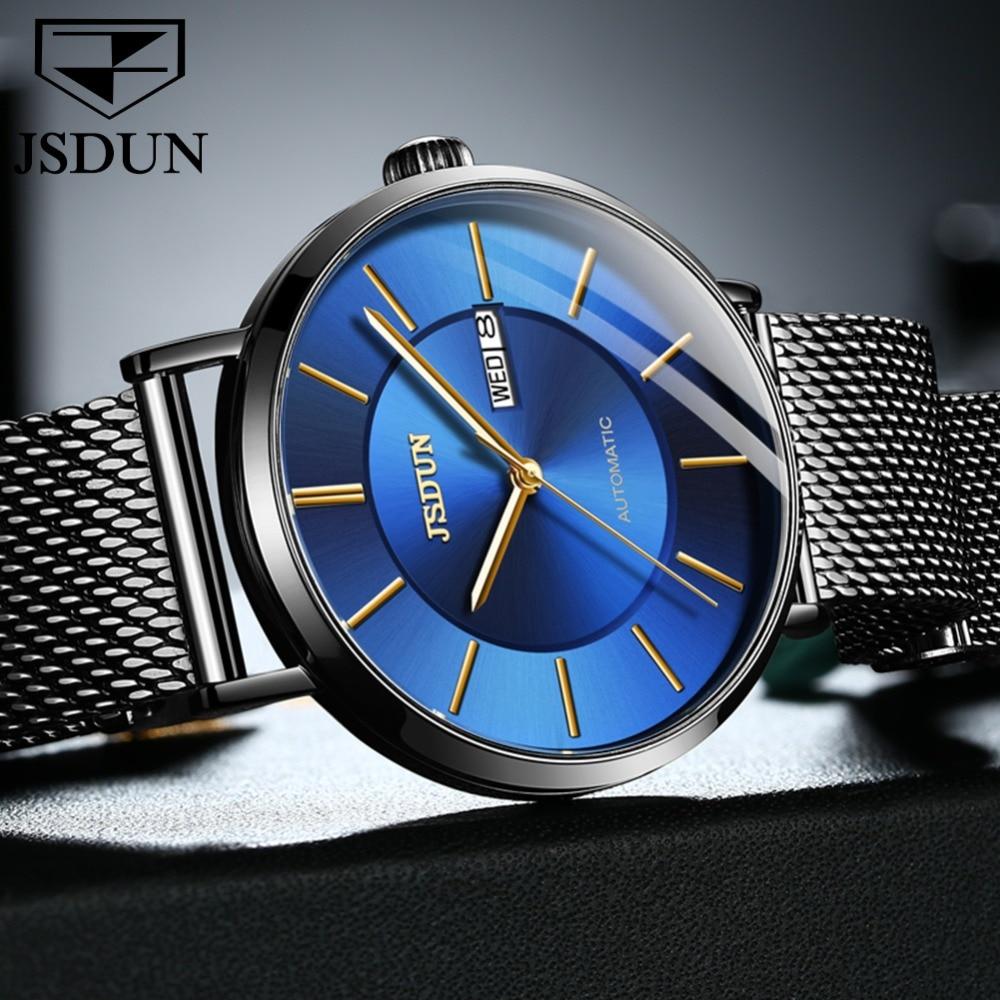JIN SHI DUN Mens Watches Top Brand Luxury Automatic Mechanical Watch Men Full Steel Business Waterproof Fashion Sport Watches