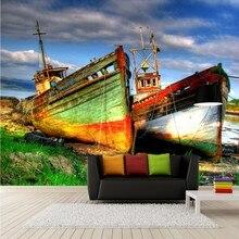 Custom 3d mural Beautiful lake side color fishing boat mural TV Background wall living room restaurant custom wallpaper