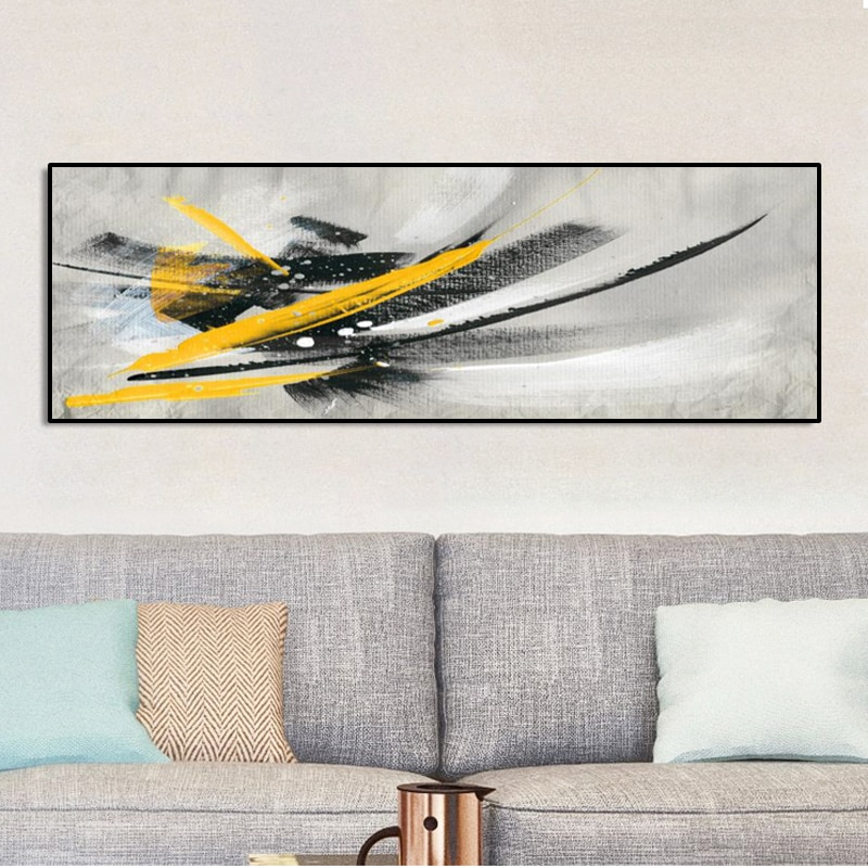 Pintura negra al óleo amarilla abstracta minimalista moderna sobre lienzo, carteles e impresiones, imágenes artísticas de pared para decoración para sala de estar