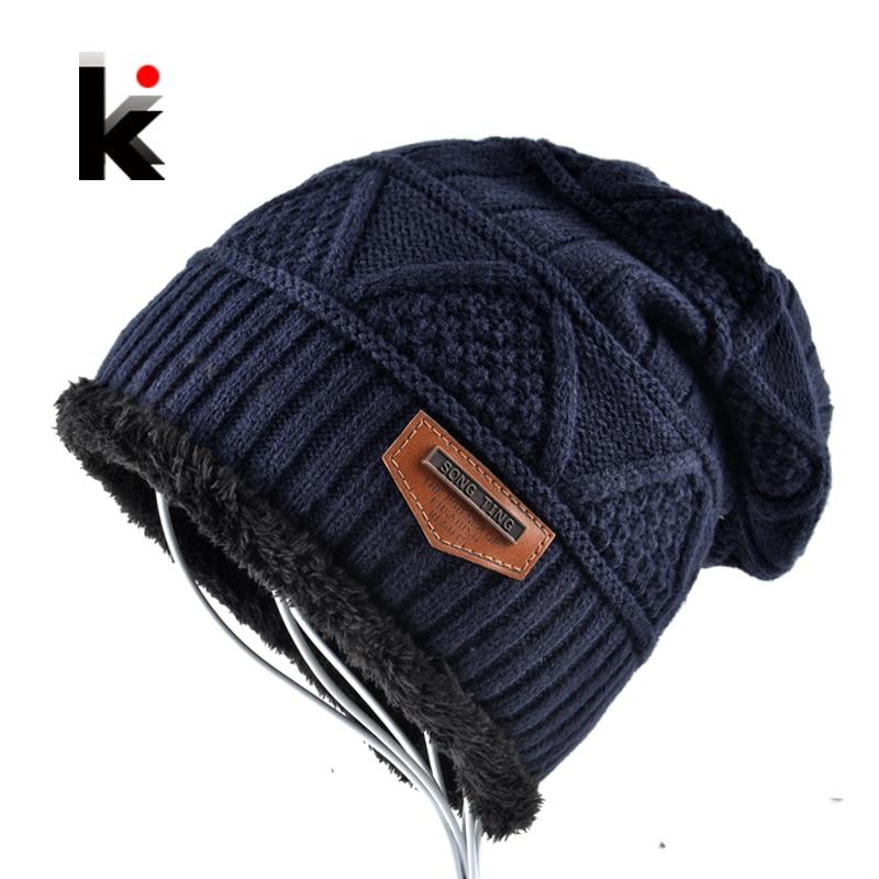 Los hombres de solideos sombrero invierno gorro de punto de lana sombrero de terciopelo tapa gruesa máscara Fringe gorros sombreros para hombres