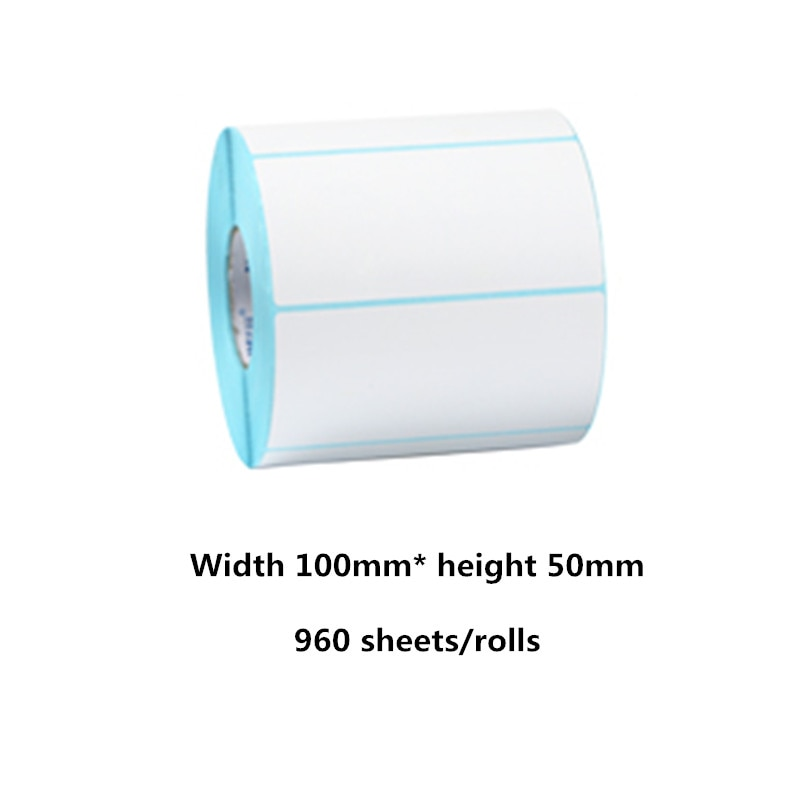 100*50mm papel térmico 960 hojas/pegatina en rollo etiqueta código de barras impresora térmica etiqueta precio impermeable etiqueta