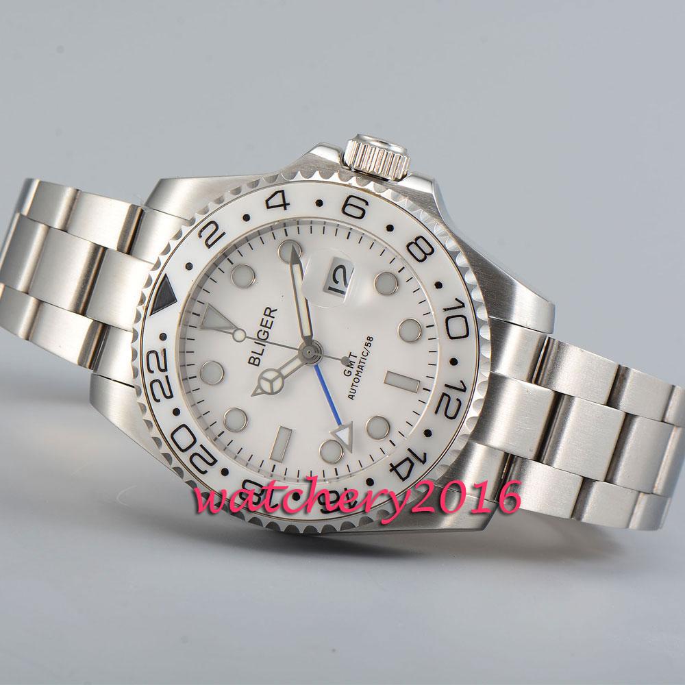 New 43mm Bliger white dial ceramic bezel gmt men watches sapphire glass date automatic movement Men's Mechanical Wristwatches