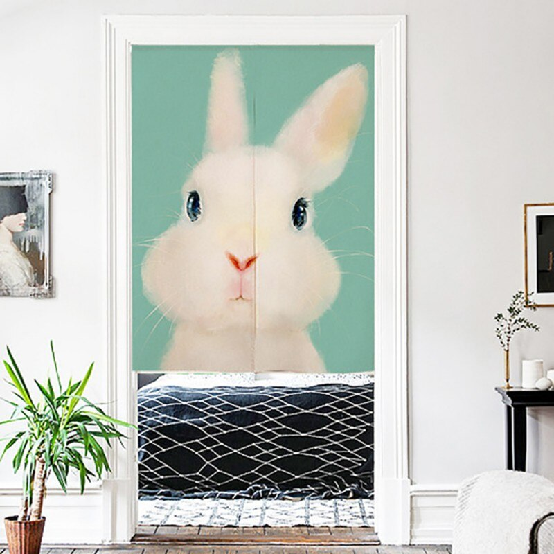 Pantalla de tapiz colgante de pared con cortina de puerta Noren japonesa y divisores de habitación con estampado de Animal bonito en lino de algodón