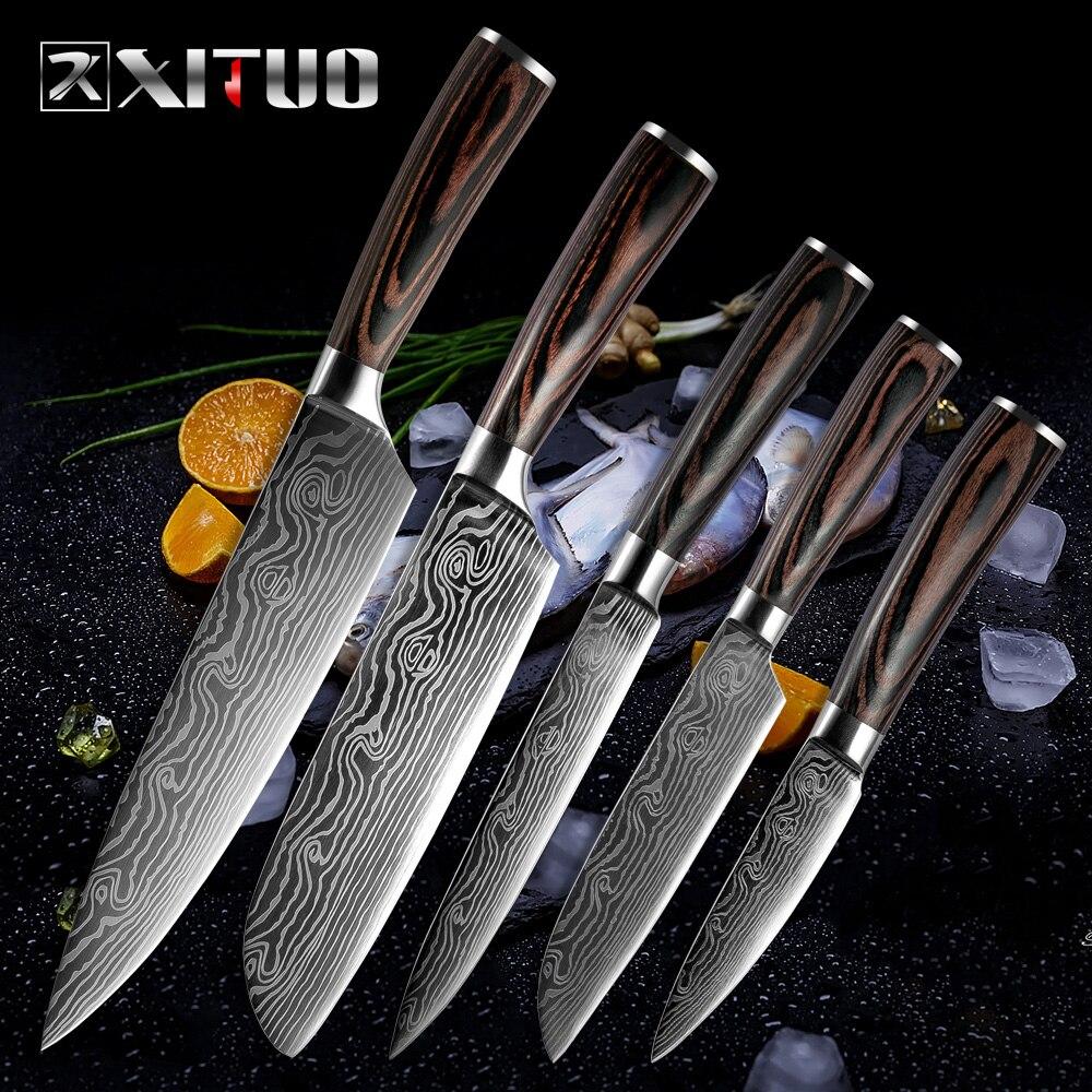 XITUO, nuevas venas de belleza, cuchillos de cocina, herramienta de pelado, Santoku, rebanador de Chef, venas de Damasco, mango de madera, cuchillo de acero inoxidable