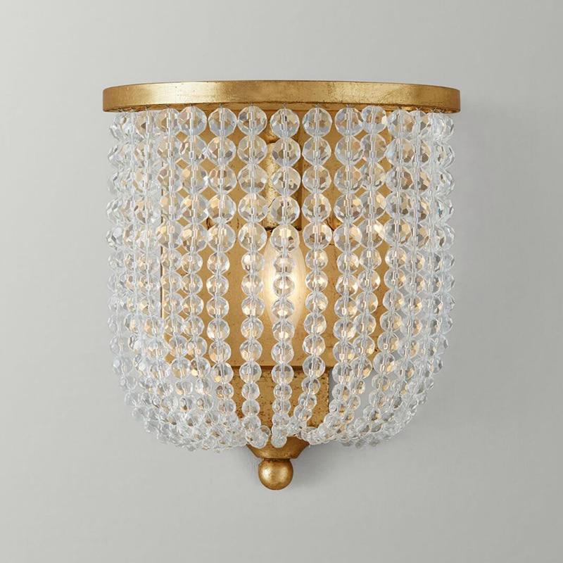 Lámpara de pared de cristal francés habitación de princesa, habitación de niños, lámina de oro, lámpara antigua, cabecera de dormitorio, lámpara de pared de princesa.