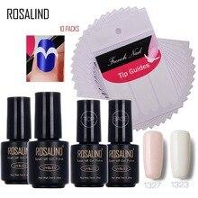 Rosalind 7ml*4+10PCS Nail Gel Polish Set French Manicure Smile Tip Guides Nail Art Gel Nail Polish DIY Art Stickers Tools