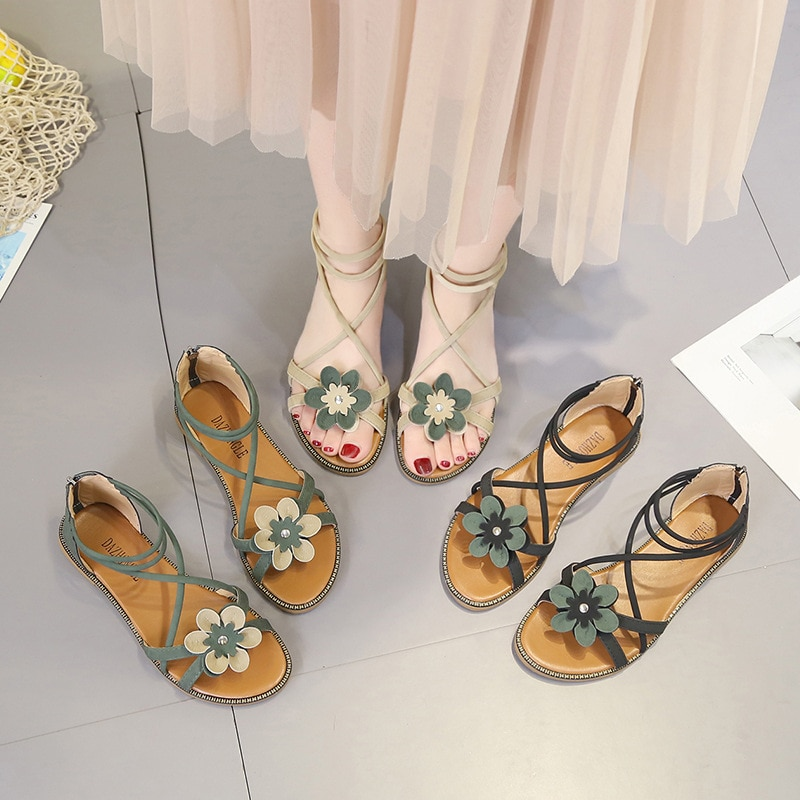 AGUTZM sandalias de Mujer Sandalias con tiras al tobillo sandalias de verano para mujer 2017 zapatos de playa para Mujer Plus
