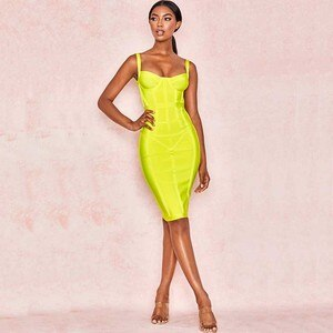 Wholesale 2020 New woman's dress yellow Spaghetii Strap Fashion casual Boutique celebrity cocktail party bandage dress