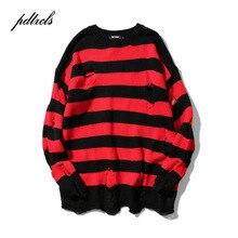 2019 nuevos suéteres de punto rasgados de rayas hombres Hip Hop Hole Casual suéter de hombre de moda suéteres sueltos de manga larga rojo negro