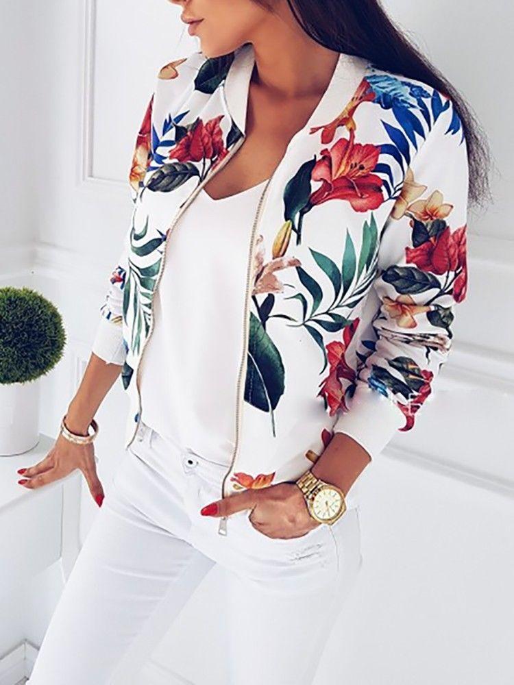 Jaqueta feminina moda senhoras retro floral zíper até bombardeiro jaqueta casual casaco outono primavera imprimir outwear roupas femininas