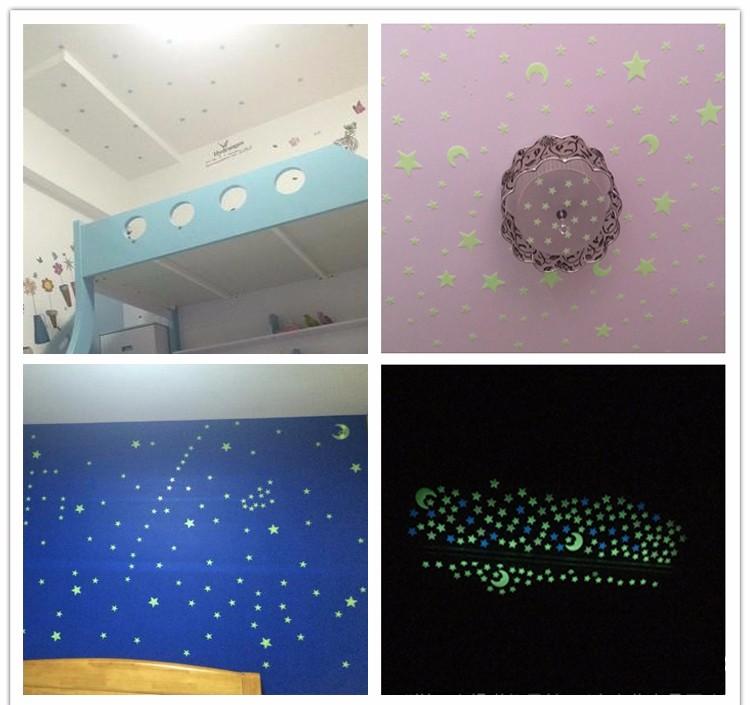 Darmowa Wysyłka Nowy Gorący 100 sztuk 3D Gwiazdy Świecą W Dark Luminous Jarzeniowe Plastikowe Naklejki Ścienne Living Home Decor Kids pokoje 6