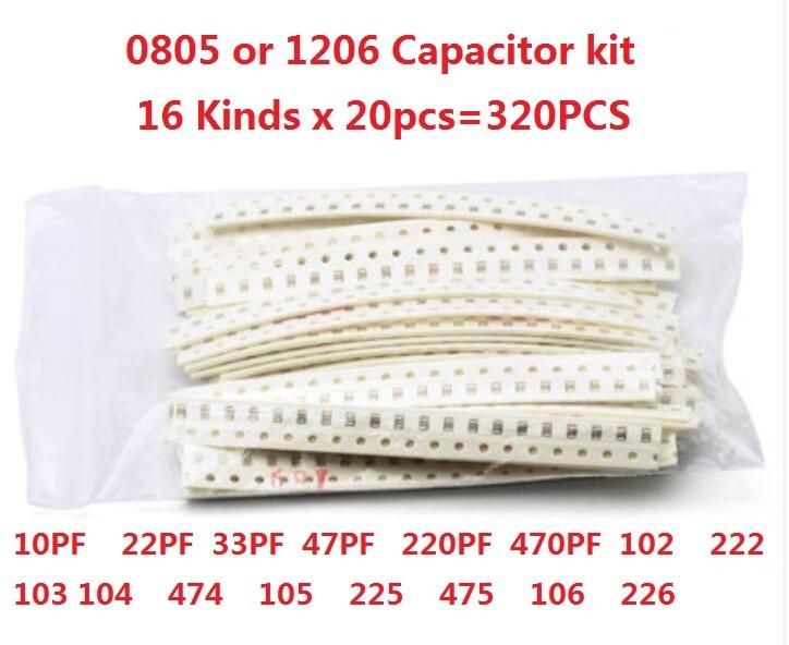 0805 1206 SMD Ceramic capacitor kit 10PF to 22UF 16values*20pcs=320pcs 102 222 103 104 474 105 225 475 106 22/33/47/220/470PF