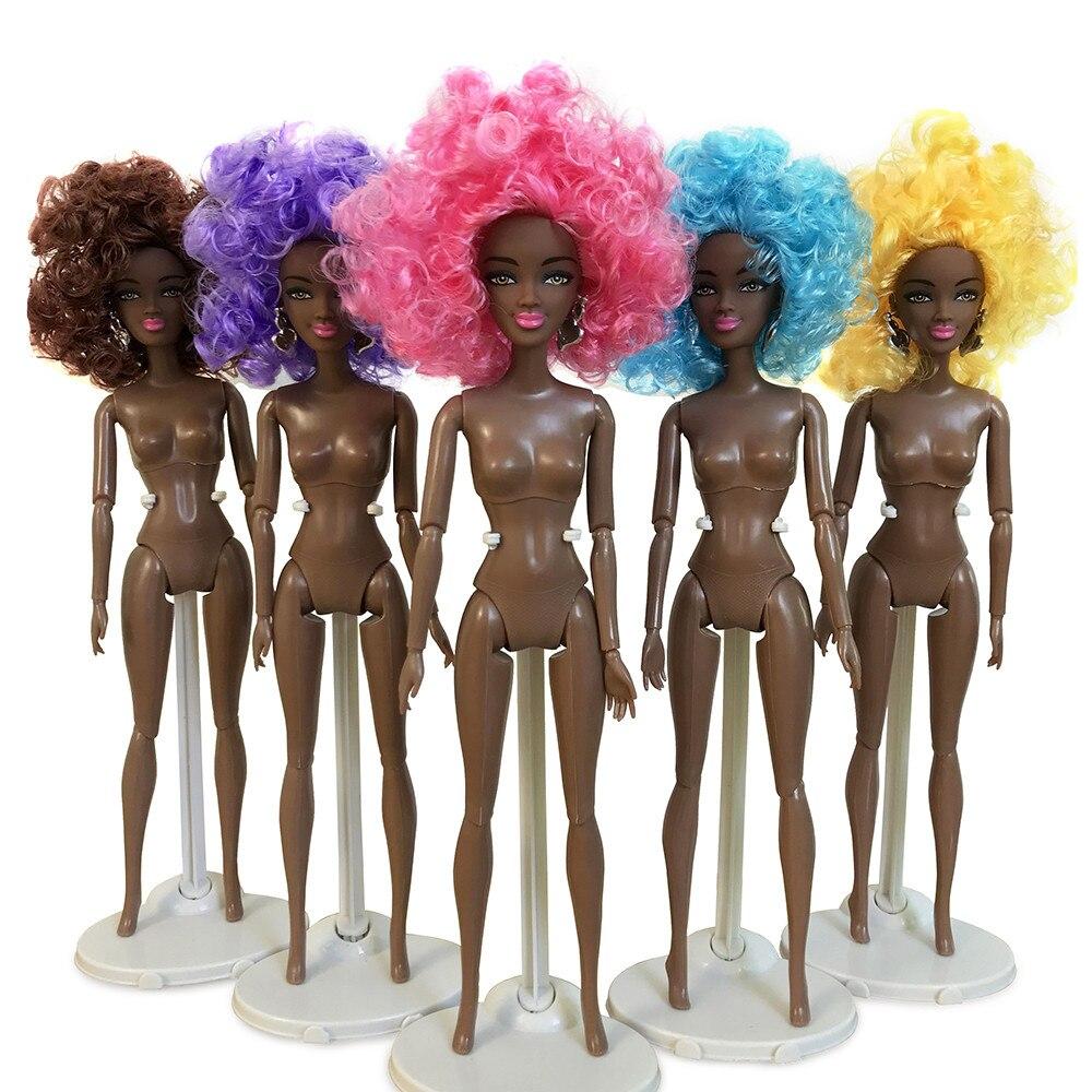 Muñecas para niñas muñeca africana conjunta movible juguete muñeca negra mejor regalo muñecas para niños juguete divertido niñas regalos de cumpleaños D