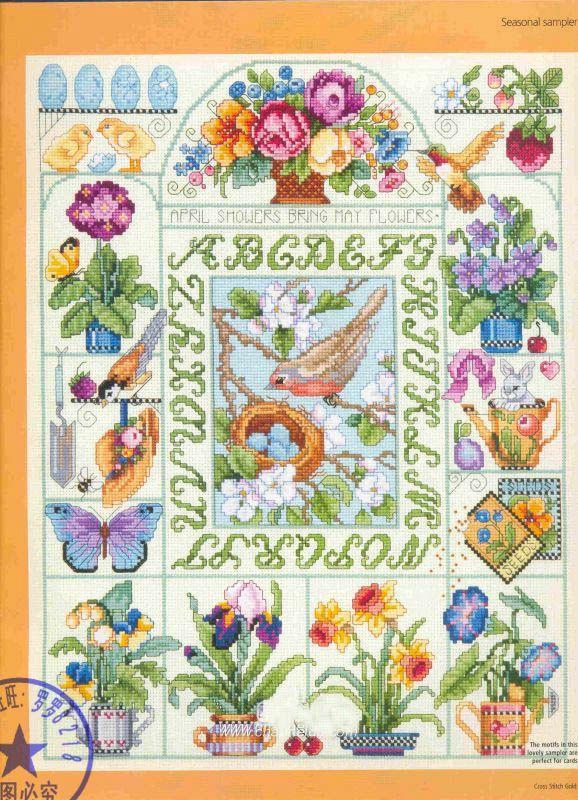 14/16/18/27/28   Counted Cross Stitch Kit Seasonal Sampler Bird Four Season Seasons Spring Summer Fall Autumn Winter