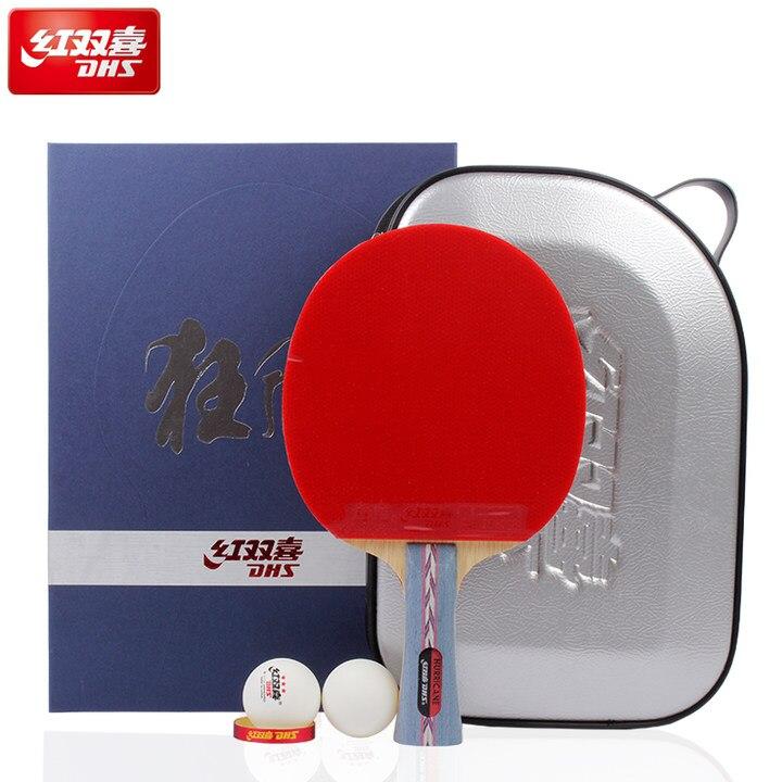 DHS Original huracán 3 raqueta de tenis de mesa con goma + pelotas + bolsa de regalo conjunto de espinillas de palo de Ping Pong en