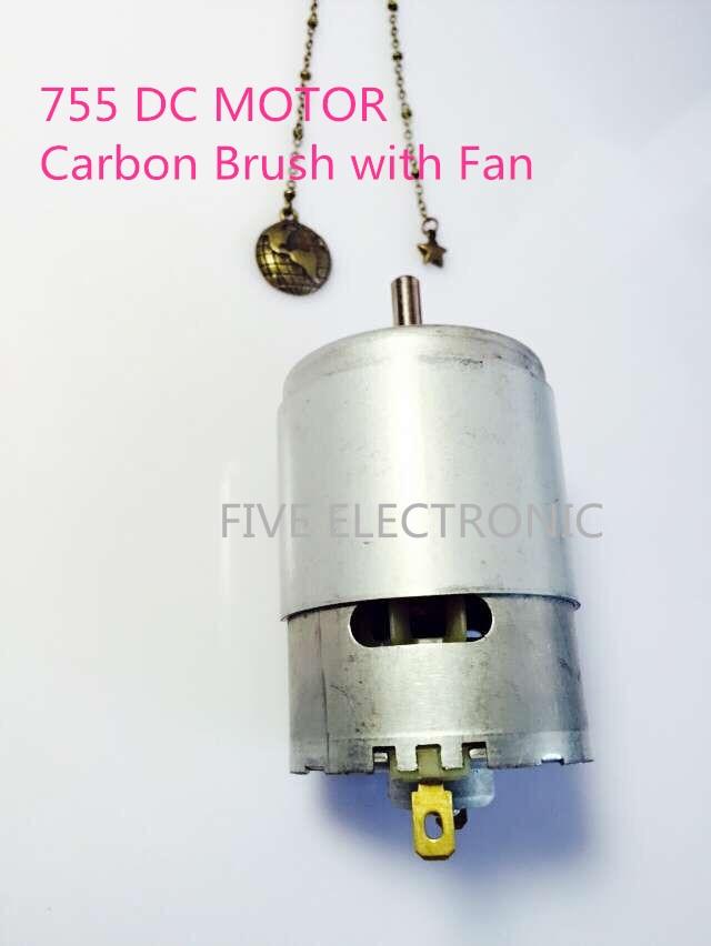 Motor 755 DC, cepillo de carbono con ventilador, uso para aeromodelismo eléctrico/modelo de barco/modelo DIY/juguetes electrónicos