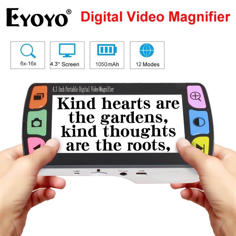 Eyoyo цифровая лупа видео 4,3 дюйма увеличительный экран электронная портативная 6x-16x низкое видение помощь в чтении USB лупа