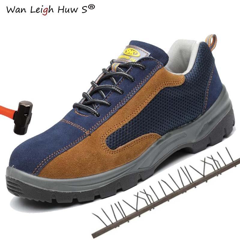 Nuevas zapatillas de deporte transpirables negras informales de cuero para hombre, zapatos de seguridad de punta de acero, botas militares protectoras de bombero Chainmail