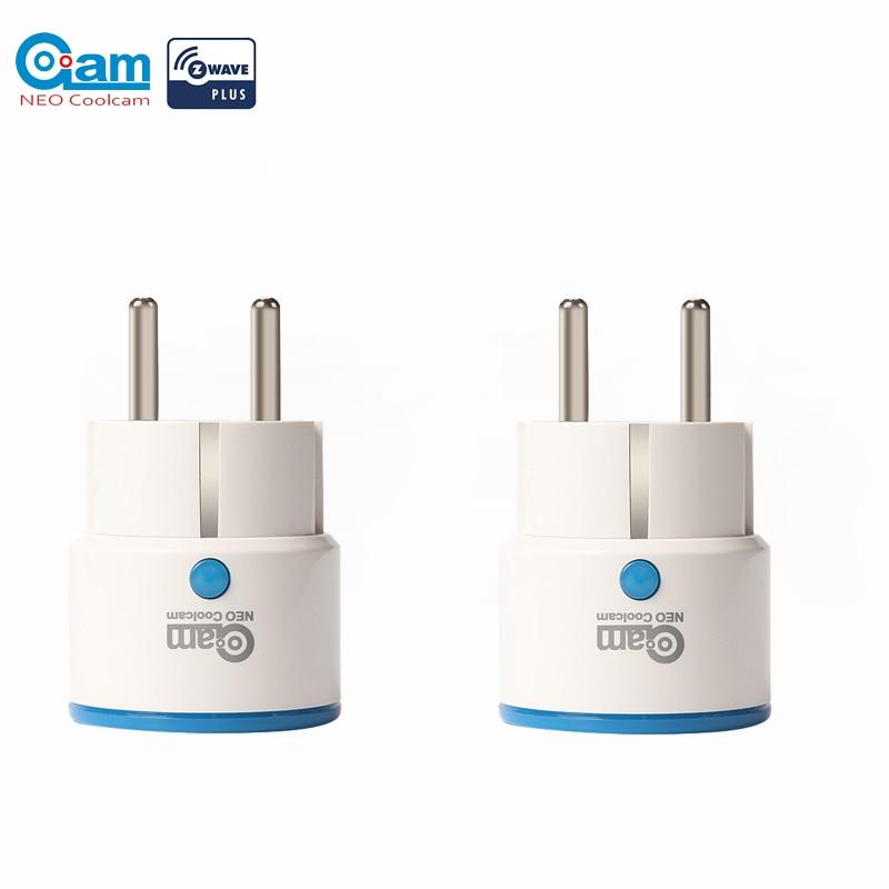 NEO COOLCAM 2pcs/lot Zwave Smart Power Plug Home Automation Zwave Socket,Z Wave Range Extender Works with Wink,SmartThings