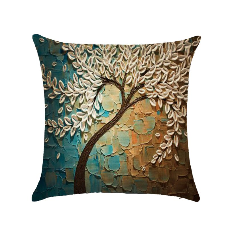Декоративная подушка, трехмерная картина маслом, деревья, цветы, хлопковая Подушка, наволочка для гостиной, чехол для дивана, сидения для автомобиля