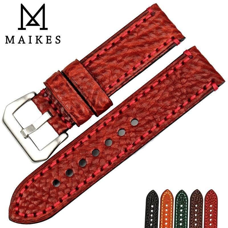 MAIKES nuevos accesorios de reloj de moda 20 22 24 26mm correas de reloj de cuero italiano correa de reloj rojo para pulsera de reloj Panerai