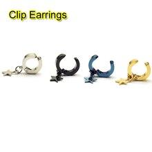 2 pièces étoile pendentif unisexe boucle doreille pas percé couleur noir bleu or couleurs titane acier Rock hommes clip boucles doreilles earcuff