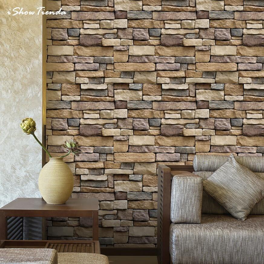 45*100cm 3D Wall Paper Brick Stone Rustic Effect Self-adhesive Wall Sticker Home Decor Adesivi Murali Wall Decor Stickers Muraux