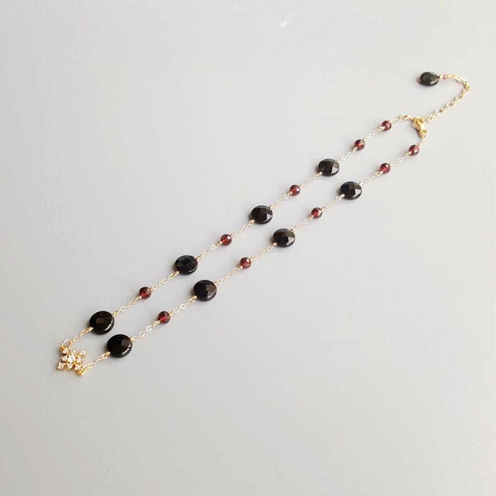 Lii Ji piedra auténtica ágata negra circón granate rojo copo de nieve encanto 9K-GF delicado collar hecho a mano 36cm + 5cm