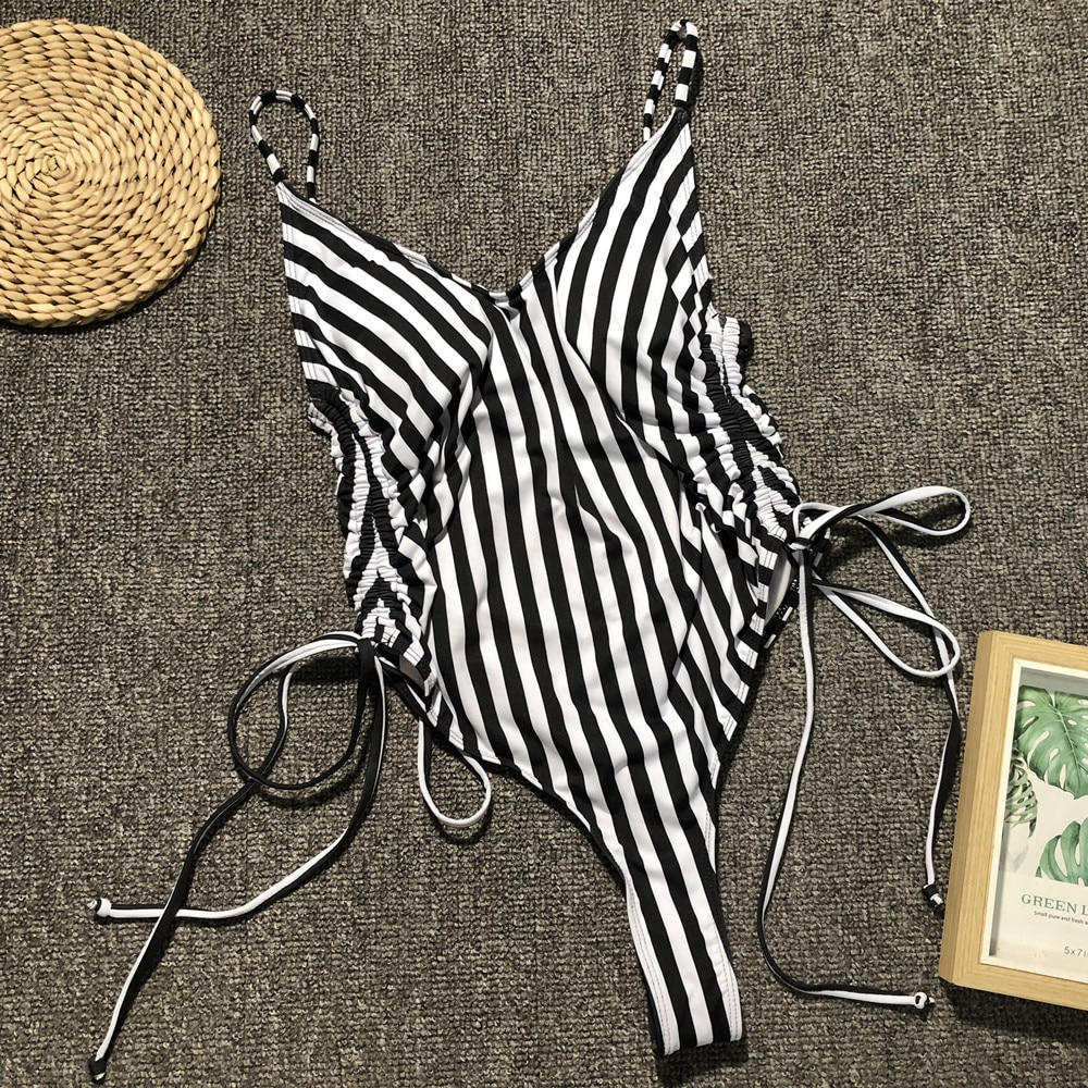 Sexy cebra rayado una pieza Monokini mujeres Rosa leopardo Bikini mujer ropa de baño traje de baño