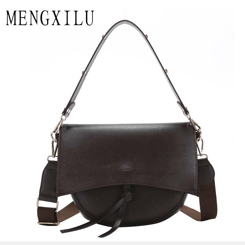 Женская сумка через плечо, винтажная, с широким ремнем, вместительная, 2019