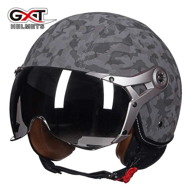 Casco de moto GXT de cuero auténtico vintage retro 3/4 t vintage scooter casco de moto casco abierto casco