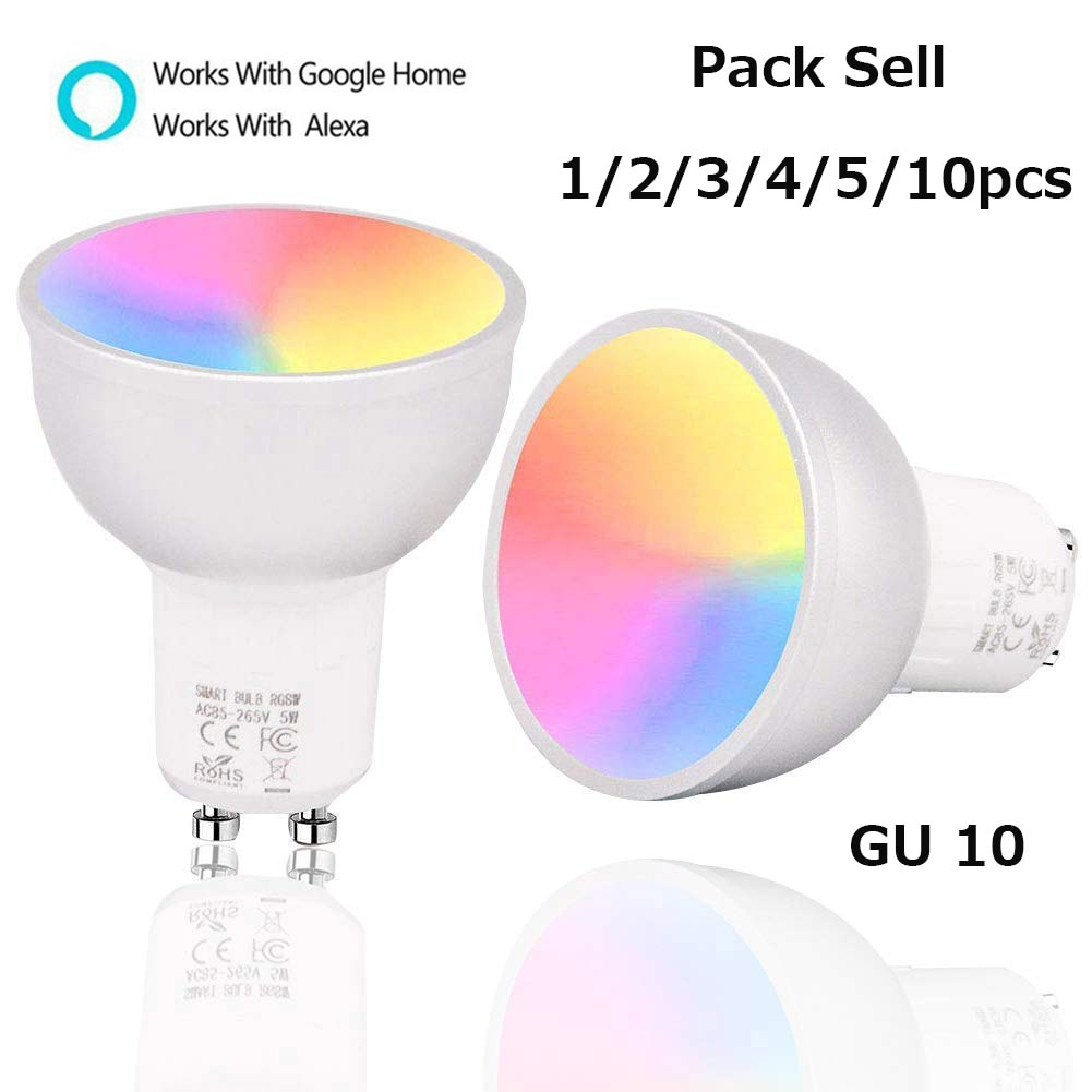 1/2/3/4/5/10PCS WiFi Smart Lamp GU10 Bulb Brightness RGBW 5W Dimmable Light Control By Smart Life AP