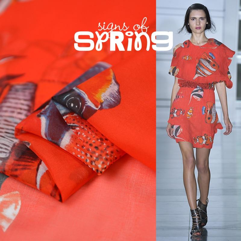 50*140cm 2020 Mar Rojo peces mundo romántico Tela Natural seda Toalla de chifón de tela de otoño ancho nuevo producto