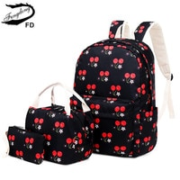 FengDong 3pcs/set korean style children school bags for girls cute cherry printing school backpack set clutch bag dropshipping