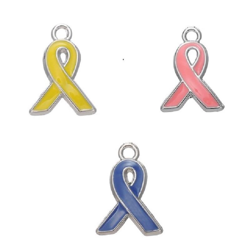 30 Uds. Lazo de Concientización del cáncer de mama esmaltado de Color, joyería con amuleto colgante, colgante para collar DIY, pulsera y pendientes, joyería colgante