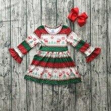ملابس أطفال بناتي للكريسماس من القطن لفصل الخريف/الشتاء مزركش أكمام طويلة مزركش بفيونكة من الحرير والحليب
