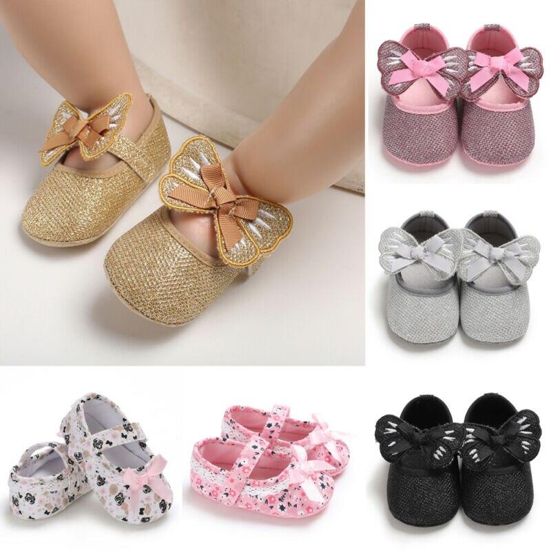 Nuevo Bebé dulce niños cuna Zapatos bebé recién nacido Bowknot suela suave Prewalker zapatillas lote 0-18M Dropshipping