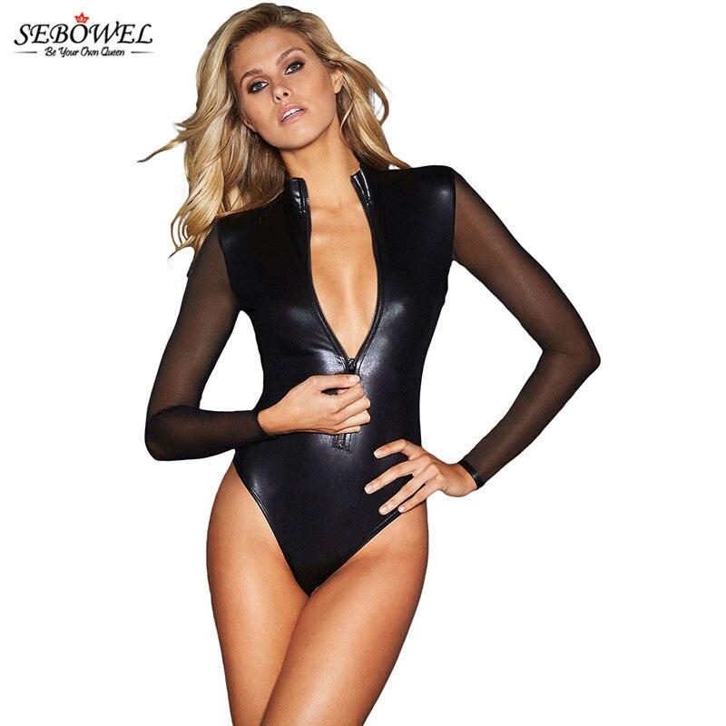 SEBOWEL 2020 Front-Zipper Black Sexy Pu Leather Bodysuit Women Turtleneck Mesh Long Sleeve Bodysuits Top Bodycon Jumpsuit Romper