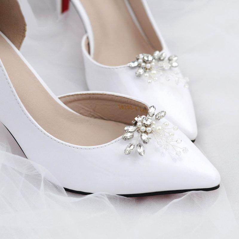 Shoe Clip Rhinestone Pearl DIY Shoes Women Elegant High Heel Sandal Decoration Ornaments Charms Floral Fashion Beads Buckle Clip