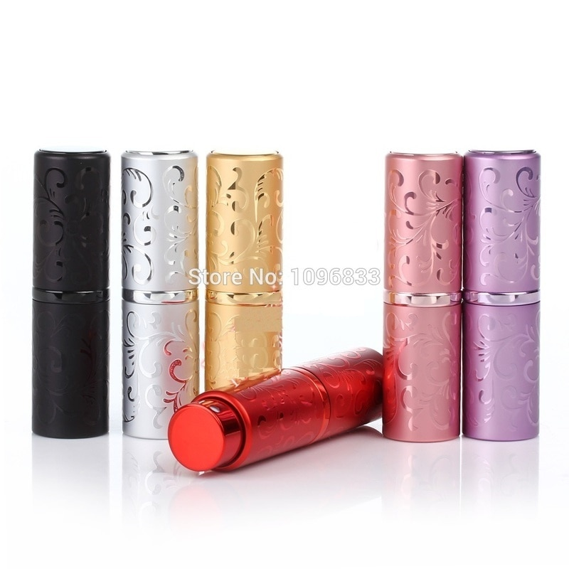 Frasco de aluminio para perfume de 30 Uds. 10ML 15ML diseño de flor en relieve atomizador vacío botellas de Spray 15CC Nice Parfum botella recargable