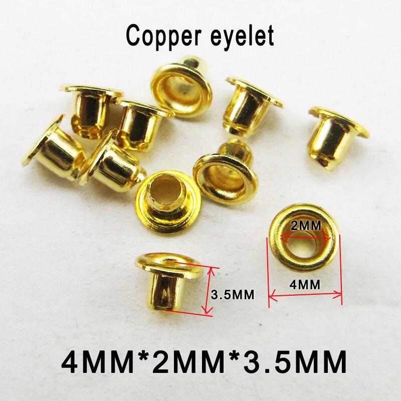 300 PCS 4 MILÍMETROS * 2 MM * 3.5 MILÍMETROS de Cobre ouro ILHÓS botão roupas acessórios de costura botões redondos de couro saco ilhós ME-066k