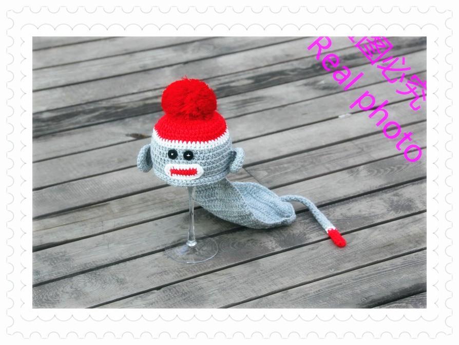 free shipping,Infant Newborn Knit Costume Photography Prop Cartoon monkey modelling Crochet Hat+ cover 2pcs baby set