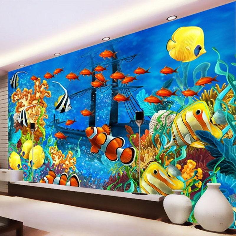 Fondo De pantalla fotográfico 3D estéreo De dibujos animados peces tropicales mundo submarino Mural Papel pintado personalizado no tejido Papel De pared 3D