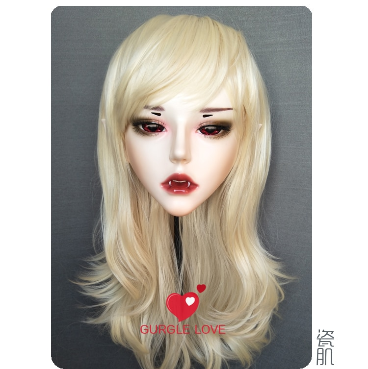 Artesanal Feminino Masculino Resina Crossdress Bonita Menina Bjd Máscaras Halloween Festa Vampiro Cosplay Máscara Novo-54