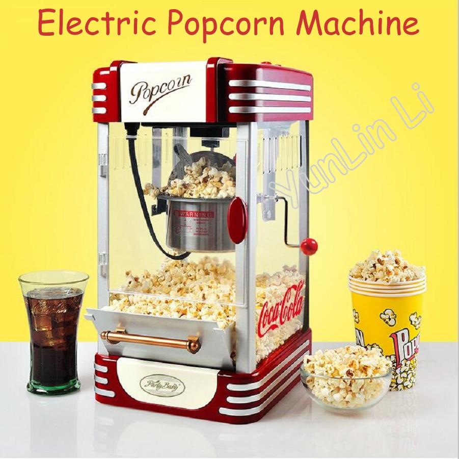 Автоматическая электрическая машина для приготовления попкорна, Мини домашняя коммерческая машина для приготовления попкорна горячим мас...